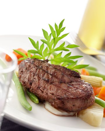 dishes: delicious piece of tenderloin, shallow depth of field Stock Photo