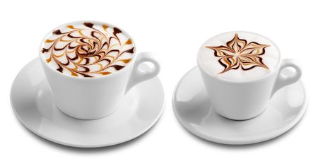 froth: two cups of coffee with froth decoration