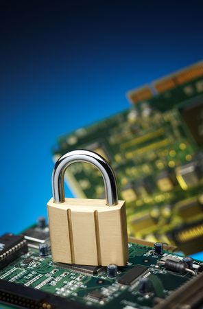 padlock with printed circuit board, network security concept photo