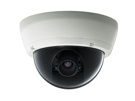 surveillance camera isolated on white background, studio shot Stock Photo