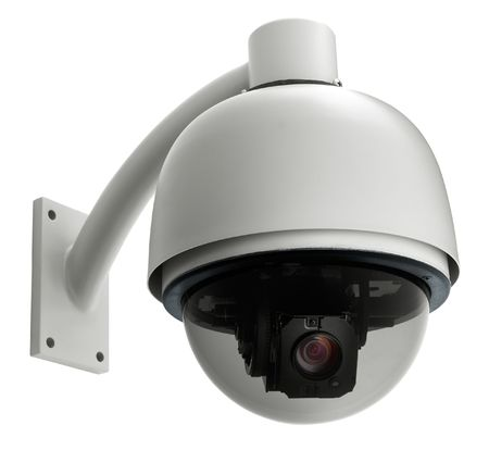 security cameras: surveillance camera isolated on white background, studio shot Stock Photo