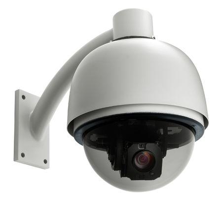 cámara de vigilancia aisladas sobre fondo blanco, dispararon estudio