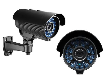 security cameras: side and front view of a surveillance camera