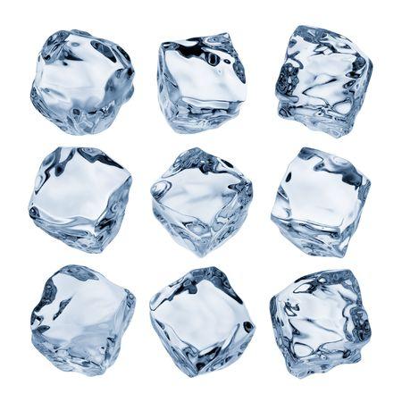 ice cube: nine ice cubes isolated on white background