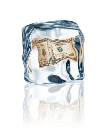 icecube: dollar frozen in ice cube, financial crisis concept