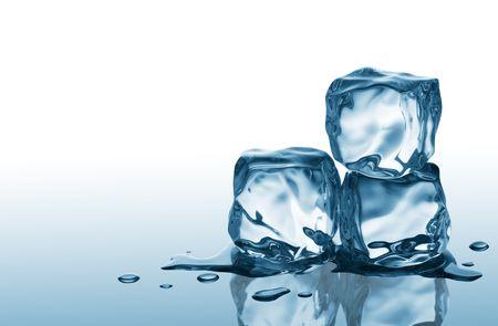 melting: three ice cubes on blue reflective surface