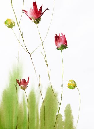 watercolor painting of flowers, use as background, own illustration Stock Photo