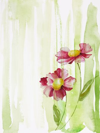 watercolor painting of flowers, use as background photo