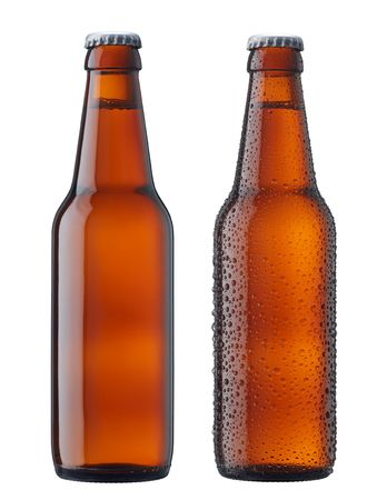 beer bottle: two bottles of beer, with and without water drop Stock Photo