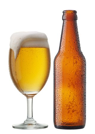 beer bottle: glass of beer with bottle isolated on white