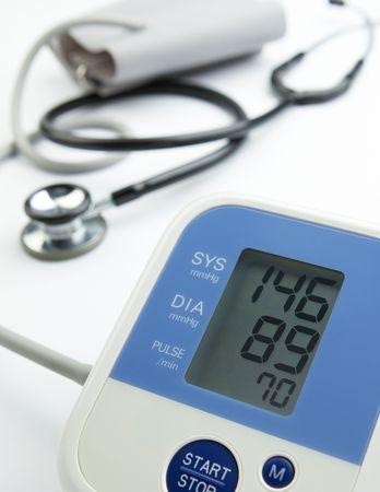 blood pressure gauge: reading on the blood pressure gauge shows hypertension