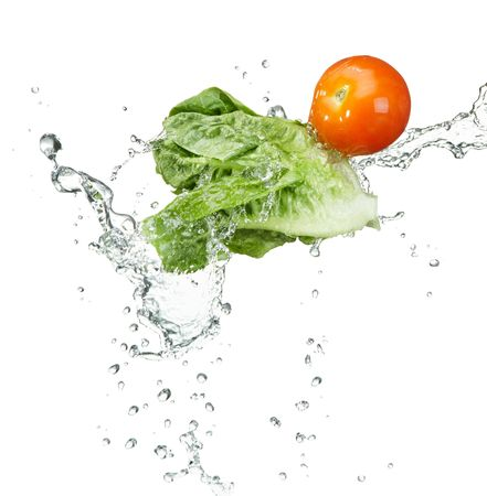 fresh vegetables with water splash on white background photo