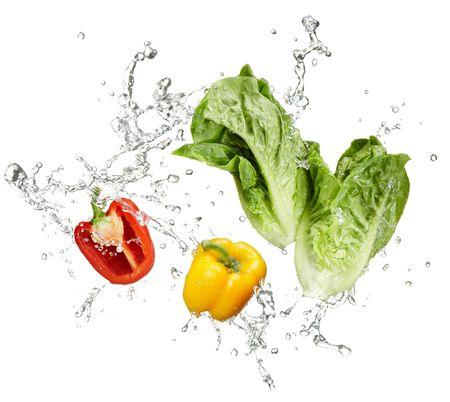 lechuga: hortalizas frescas y salpicaduras de agua sobre fondo blanco Foto de archivo