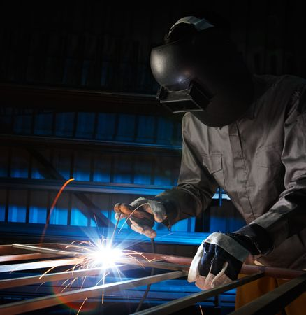 man welding in workshop with safety precaution Stock Photo - 6073369