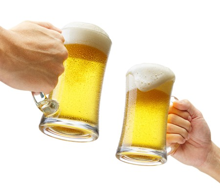 two hands holding beers making a toast Stock Photo - 6960155
