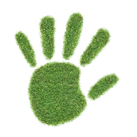 real grass hand print isolated on white background Stock Photo - 6960154