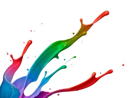 mixed colorful paint splash isolated on white background photo