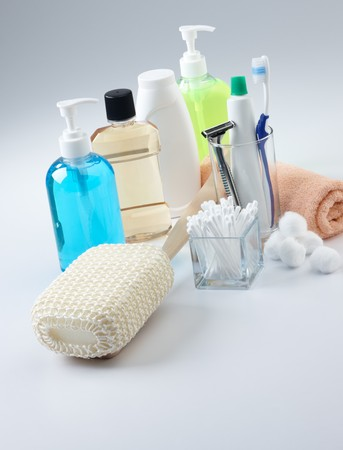 talcum: assorted personal hygiene products on plain background Stock Photo