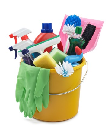 variety of cleaning products in a bucket photo