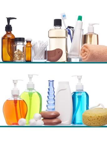 shelfs: various personal hygiene products on glass shelfs