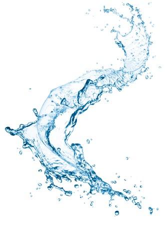 agua: salpicadura de agua azul aislado sobre fondo blanco
