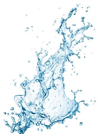 splash water: blue water splash isolated on white background Stock Photo
