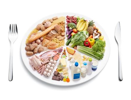 dieta sana: gr�fico de sectores de la pir�mide de alimentos en placa con cuberter�a  Foto de archivo