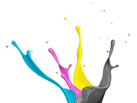 paint splash of cyan, magenta, yellow and black photo