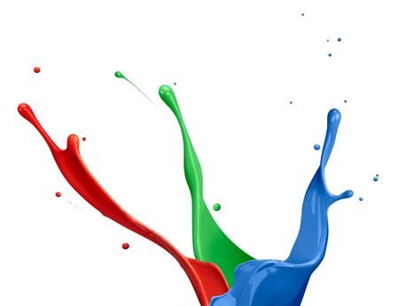 splash paint: paint splash of RGB colors on white background Stock Photo