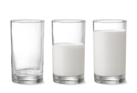 milk glass: three glasses showing increasing amount of milk