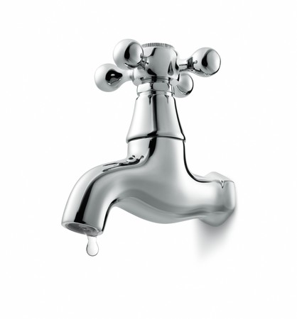 water faucet: leaking water tap isolated on white background