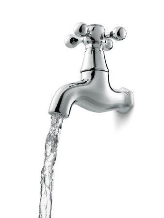 water faucet: tap with flowing water against white background Stock Photo