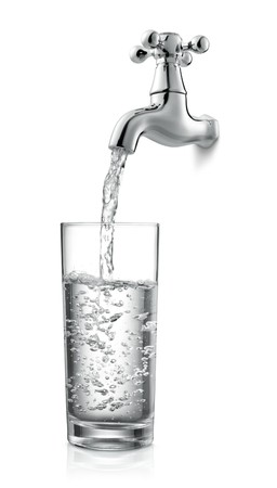 water faucet: filling a glass of water from tap