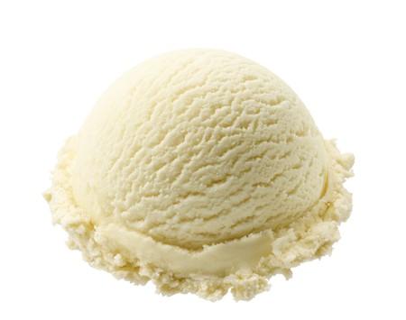 bolletje vanilleroomijs geïsoleerd op witte achtergrond