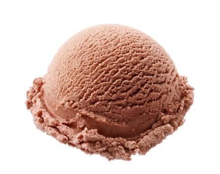 chocolate ice cream: Scoop de chocolat cr�me glac�e isol� sur fond blanc Banque d'images
