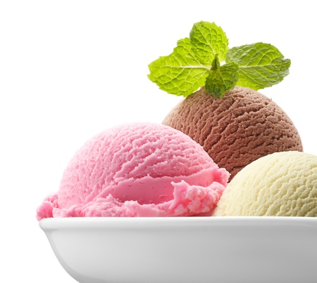 three scoops of ice cream with mint
