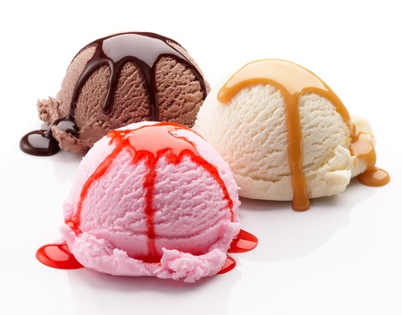 three scoops of ice cream with syrup Stock Photo - 8313942