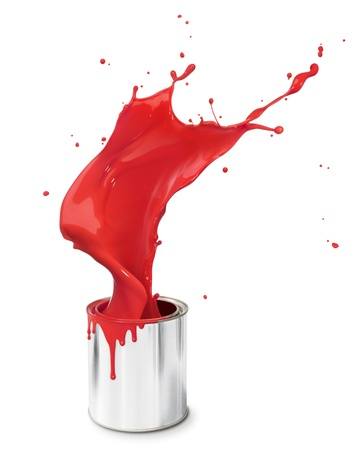 paint can: red paint splashing out from its bucket