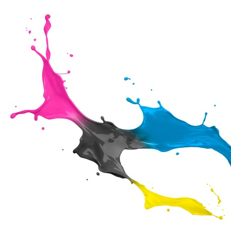 cmyk: paint splash of cyan, magenta, yellow and black