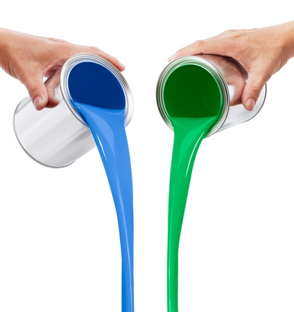 paint tin: pouring blue and green paints from its buckets