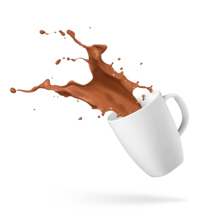 spills: cup of spilling chocolate drink creating splash