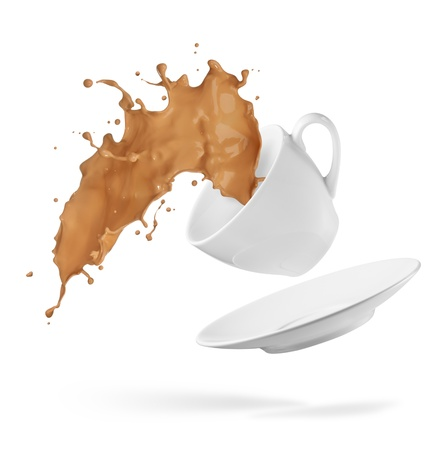 spills: cup of spilling coffee creating splash Stock Photo