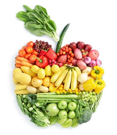 alimentacion sana: varias frutas y verduras en forma de apple Foto de archivo