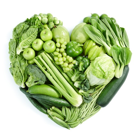 vegetable: heart shape form by various vegetables and fruits