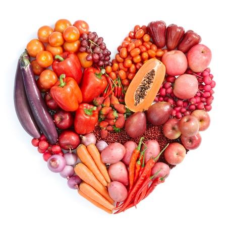 red onion: forma de coraz�n por diversas frutas y verduras Foto de archivo