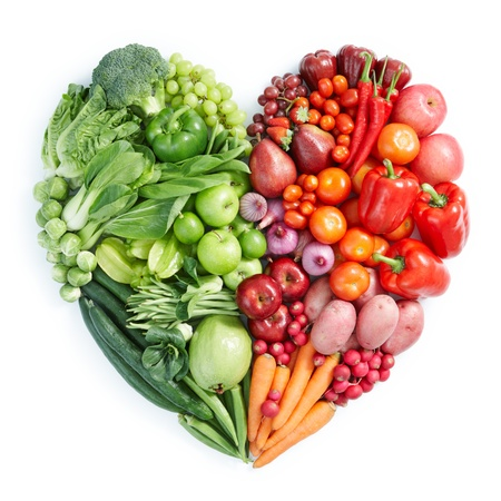 broccoli: heart shape by various vegetables and fruits