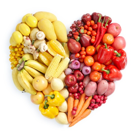 heart shape by various vegetables and fruits photo