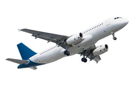 passagiersvliegtuig op witte achtergrond wordt geïsoleerd die Stockfoto