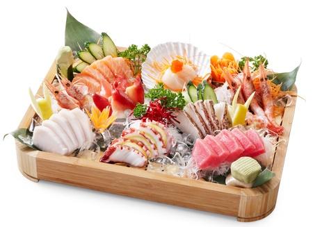 delicious mixed sashimi isolated on white background