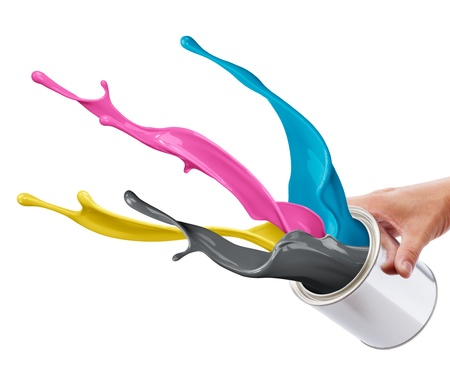 cmyk: pouring paint consisting CMYK colors from its bucket creating splash